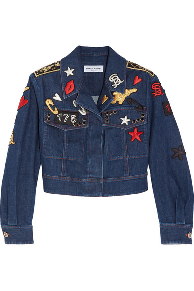 cropped embroidered stretch- denim jacket